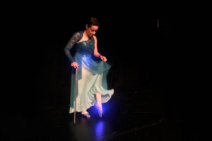 Genevieve Smith-Nunes models her wearable-tech ballet shoes