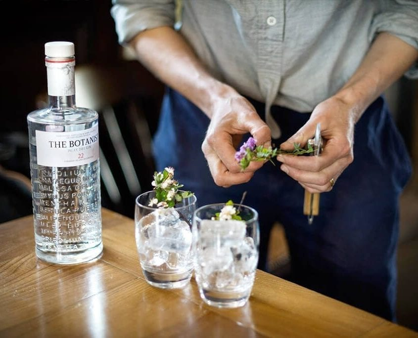 Jane making Botanist Cocktails