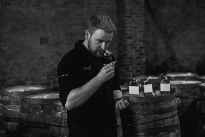 Adam Hannett in the Warehouse tasting Octomore 07.4 virgin oak