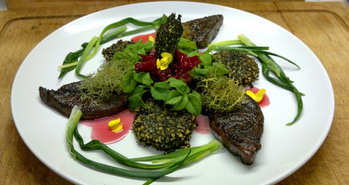 wild leeks, laverbread, gorse flowers, venison liver, lichen, reindeer moss, foraging, wild food, winter, january, flower